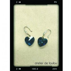 boucle coeur | boucle strass bleu | strass coeur