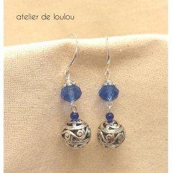 boucle facette | boucle oreille facette bleu
