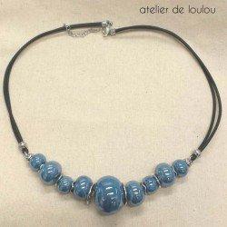 collier bleu | collier perle céramique | collier personnalisé