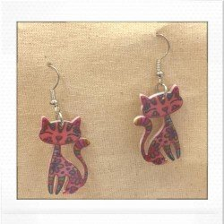 boucle chat rose | pink earing cat