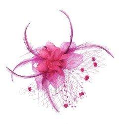 broche fuchsia | accessoire coiffure rose| barrette cheveu mariage