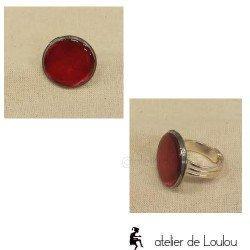 Bague résine rouge   bague réglable red ring