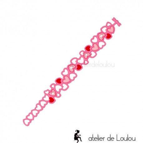 bracelet rose fille | bracelet batucada | bracelet coeur