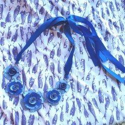 collier | collier bleu | collier fleur | collier pas cher