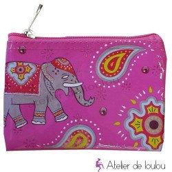 pochette éléphant | porte monnaie rose