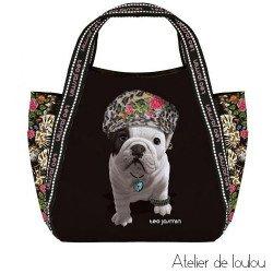 Achat sac chien bouledogue noir Téo Jasmin