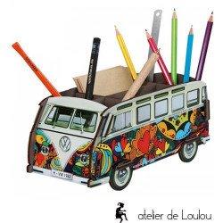 accessoire combi vw | voiture pot crayon | pot crayon bois love