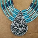 Collier multi rang turquoise