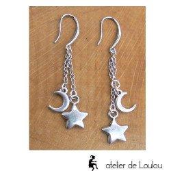 Achat boucle lune | achat bijou étoile