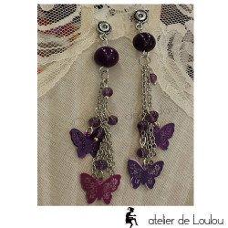 Bijou violet | achat bijou cahors | boucle papillon