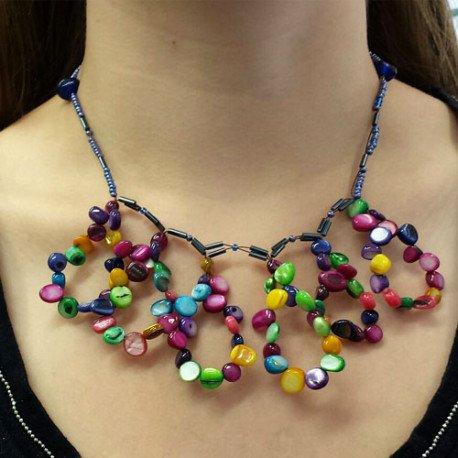 collier en nacre | collier perle multicolore