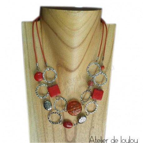 Achat collier orange   acheter collier orange fait main