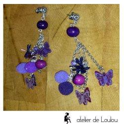 Boucle oreilles artisanales | bijou multicolore artisan
