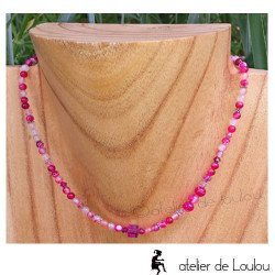 collier swarovski | collier perle rose