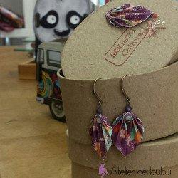 Boucle oreille origami | acheter bijou fait main