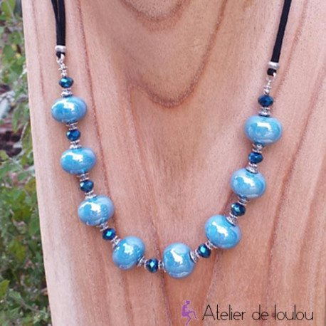 achat collier bleu turquoise | acheter collier perle céramique