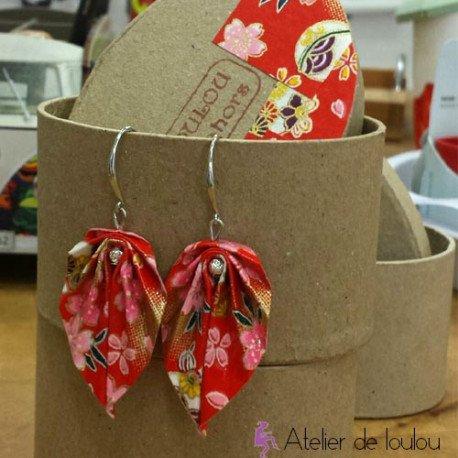 bijou japonais origami | acheter bijou oreille rouge