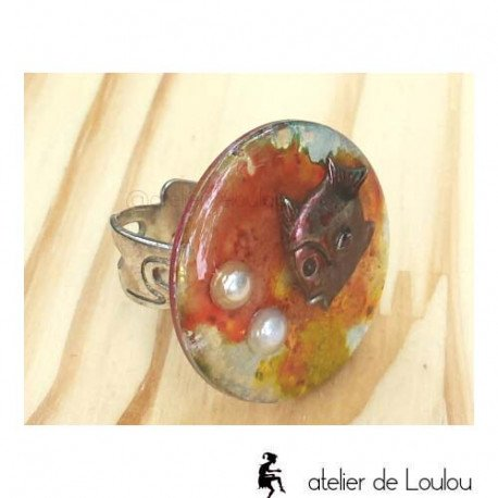 Bague poisson | bague bulle | fish bubble ring