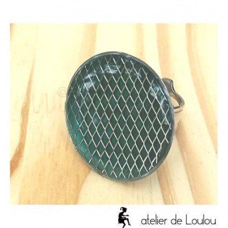 Bague grillage | bague résine | emerald ring
