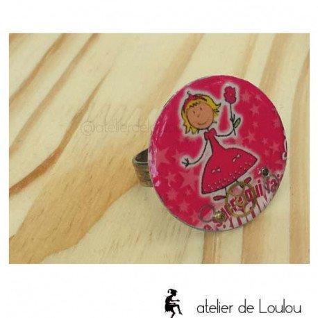 bague rose| bague de fille | bague réglable | french creator ring