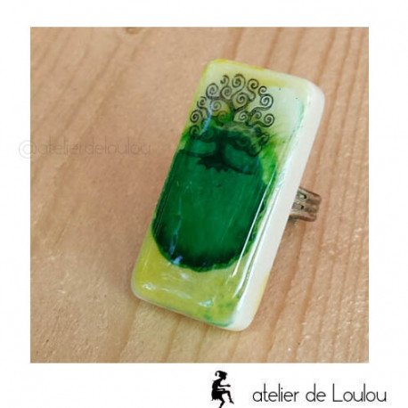 Bague vert   bague réglable  green ring