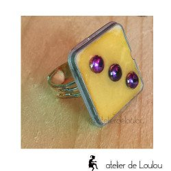 Achat bague violet  yellow ring