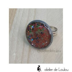 Bague multicolore | bague paillette
