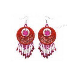boucle oreille rouge | boucle rose rouge