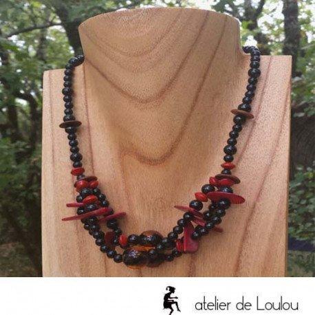 collier rouge noir | collier fantaisie 3 rangs