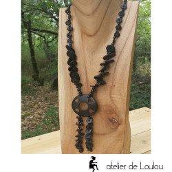 collier bois noir   collier fantaisie bois