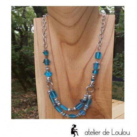 collierperle bleu| collier fantaisie perles
