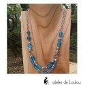 Collier double bleu