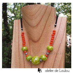 achat collier orange | acheter collier perle orange