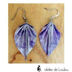 Bijou origami violet | boucles d'oreilles origami fait main