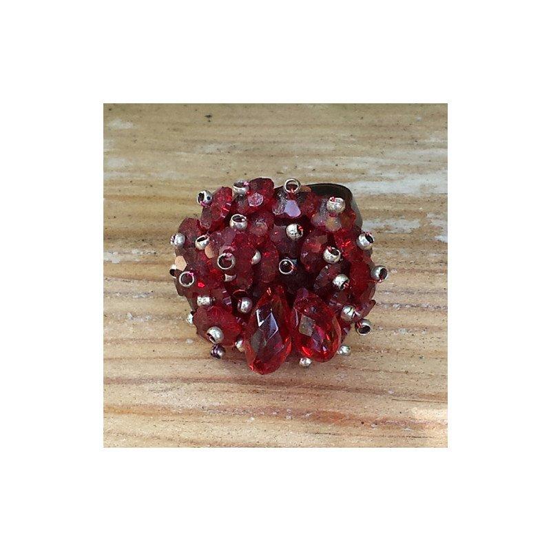 Bague perle swarovski rouge