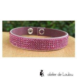 bracelet 5 rangs swarovski | bracelet alcantara cristal swarovski rose 5 rangs