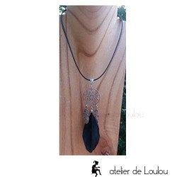 collier attrape rêves cuir | acheter collier artisanal fait main cuir capteur rêves
