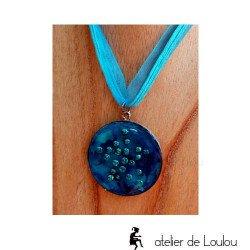collier résine bleu| collier artisanal résine acheter