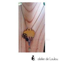 collier résine violet paris | collier artisanal résine tour eiffel