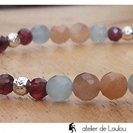 Bracelet pierres de lune rose et grenat