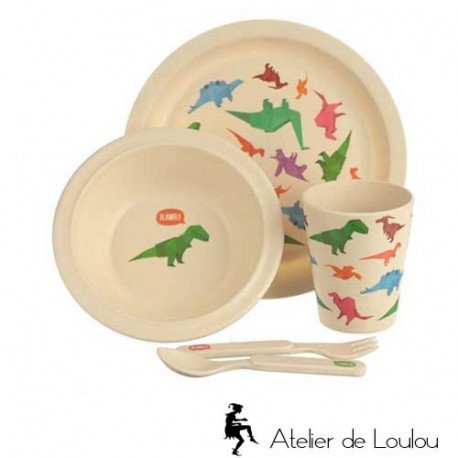 Vaisselle bambou | assiette dinosaure