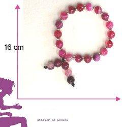 bracelet agates roses perles naturelles - loulou -