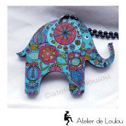 collier éléphant bleu   collier pas cher   pendentif éléphant