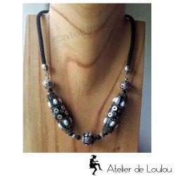 achat collier de créateur | bijou noir blanc