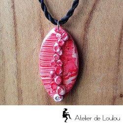 collier artisanal | collier fimo | acheter collier rouge et noir