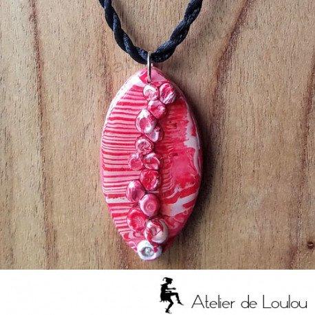 collier artisanal   collier fimo   acheter collier rouge et noir