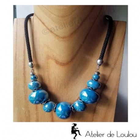 Achat joli collier bleu | collier ceramique bleu