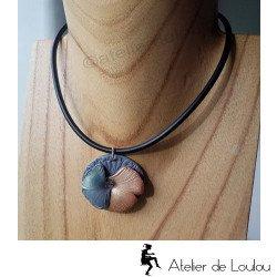 collier gris cuivre | collier fantaisie gingko