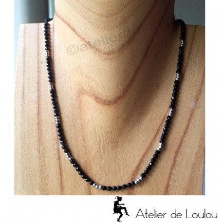 achat collier acier onyx | collier noir