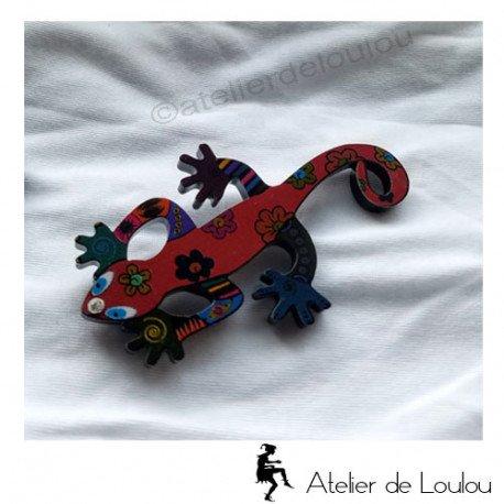 broche gecko | lizzard brooch | broche lézard